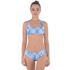 Blue Monochrome Geometric Design Criss Cross Bikini Set by Nexatart