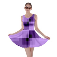 Purple Geometric Cotton Fabric Skater Dress