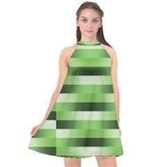 Pinstripes Green Shapes Shades Halter Neckline Chiffon Dress