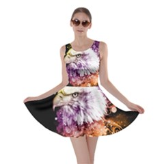 Awesome Eagle With Flowers Skater Dress by FantasyWorld7