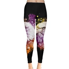 Awesome Eagle With Flowers Leggings  by FantasyWorld7