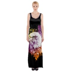 Awesome Eagle With Flowers Maxi Thigh Split Dress by FantasyWorld7