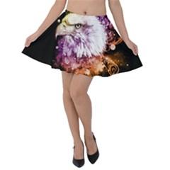 Awesome Eagle With Flowers Velvet Skater Skirt by FantasyWorld7