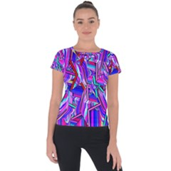 Stars Beveled 3d Abstract Stripes Short Sleeve Sports Top