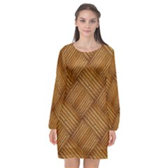 Wood Texture Background Oak Long Sleeve Chiffon Shift Dress