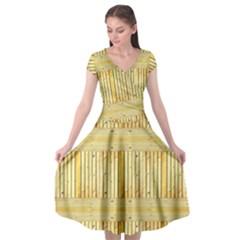 Wood Texture Grain Light Oak Cap Sleeve Wrap Front Dress