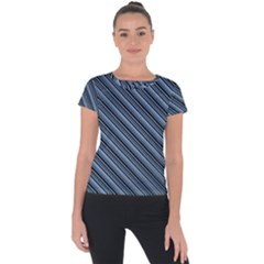 Diagonal Stripes Pinstripes Short Sleeve Sports Top