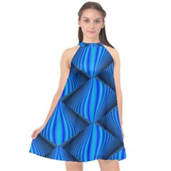 Abstract Waves Motion Psychedelic Halter Neckline Chiffon Dress  by Nexatart