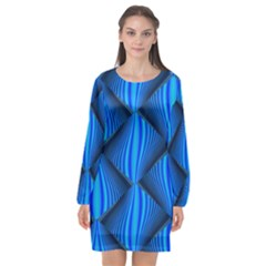 Abstract Waves Motion Psychedelic Long Sleeve Chiffon Shift Dress