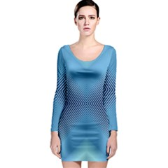 Converging Lines Blue Shades Glow Long Sleeve Bodycon Dress by Nexatart