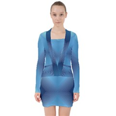 Converging Lines Blue Shades Glow V Neck Bodycon Long Sleeve Dress by Nexatart