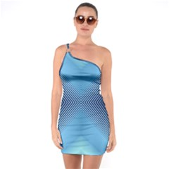 Converging Lines Blue Shades Glow One Soulder Bodycon Dress by Nexatart