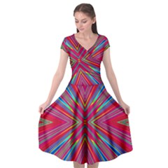 Burst Radiate Glow Vivid Colorful Cap Sleeve Wrap Front Dress by Nexatart