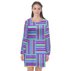 Geometric Textile Texture Surface Long Sleeve Chiffon Shift Dress
