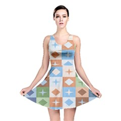 Fabric Textile Textures Cubes Reversible Skater Dress