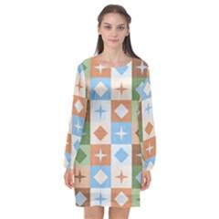Fabric Textile Textures Cubes Long Sleeve Chiffon Shift Dress