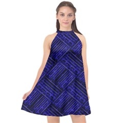 Cobalt Blue Weave Texture Halter Neckline Chiffon Dress  by Nexatart