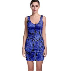 Neon Abstract Cobalt Blue Wood Bodycon Dress by Nexatart