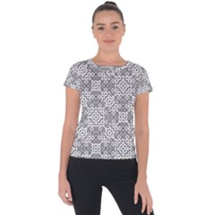 Black And White Oriental Ornate Short Sleeve Sports Top  by dflcprints