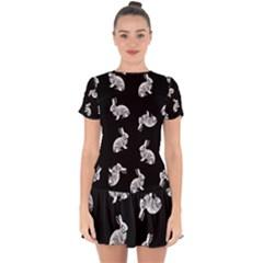 Rabbit Pattern Drop Hem Mini Chiffon Dress by Valentinaart