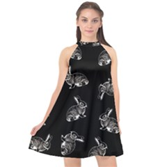 Rabbit Pattern Halter Neckline Chiffon Dress  by Valentinaart