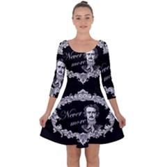 Edgar Allan Poe    Never More Quarter Sleeve Skater Dress by Valentinaart