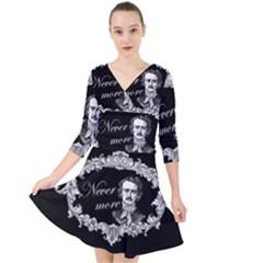 Edgar Allan Poe    Never More Quarter Sleeve Front Wrap Dress by Valentinaart