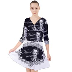 Edgar Allan Poe    Never More Quarter Sleeve Front Wrap Dress by Valentinaart