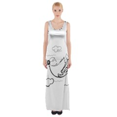 Bird Maxi Thigh Split Dress by ValentinaDesign