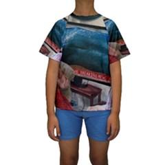 Breaking News Kids  Short Sleeve Swimwear by redmaidenart