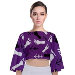 Purple Tie Back Butterfly Sleeve Chiffon Top by HASHHAB
