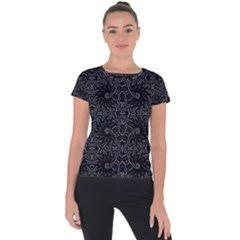 Dark Ethnic Sharp Pattern Short Sleeve Sports Top  by dflcprints