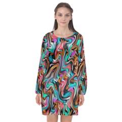 5 4 1 9 Long Sleeve Chiffon Shift Dress  by ArtworkByPatrick