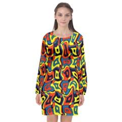 Pattern-3 Long Sleeve Chiffon Shift Dress  by ArtworkByPatrick