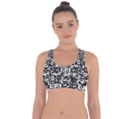 Black And White Abstract Texture Cross String Back Sports Bra by dflcprints