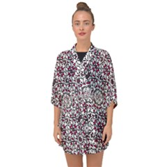 Boho Bold Vibrant Ornate Pattern Half Sleeve Chiffon Kimono by dflcprints
