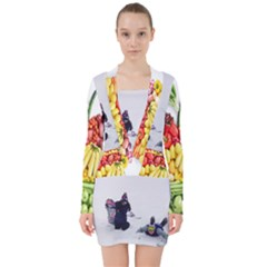 Vitamin Snowboard V Neck Bodycon Long Sleeve Dress by CustomDressMe