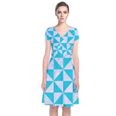 Triangle1 White Marble & Turquoise Colored Pencil Short Sleeve Front Wrap Dress