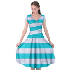 Stripes2white Marble & Turquoise Colored Pencil Cap Sleeve Wrap Front Dress by trendistuff