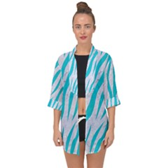 Skin3 White Marble & Turquoise Colored Pencil (r) Open Front Chiffon Kimono by trendistuff