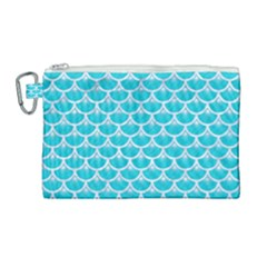 Scales3 White Marble & Turquoise Colored Pencil Canvas Cosmetic Bag (large) by trendistuff