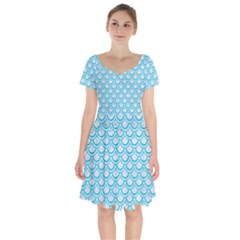 Scales2 White Marble & Turquoise Colored Pencil (r) Short Sleeve Bardot Dress by trendistuff
