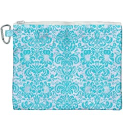 Damask2 White Marble & Turquoise Colored Pencil (r) Canvas Cosmetic Bag (xxxl)