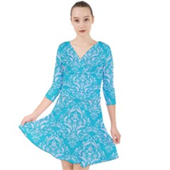 Damask1 White Marble & Turquoise Colored Pencil Quarter Sleeve Front Wrap Dress by trendistuff