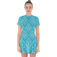 Damask1 White Marble & Turquoise Colored Pencil Drop Hem Mini Chiffon Dress by trendistuff