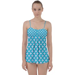 Circles3 White Marble & Turquoise Colored Pencil (r) Babydoll Tankini Set