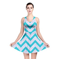 Chevron9 White Marble & Turquoise Colored Pencil (r) Reversible Skater Dress