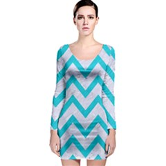 Chevron9 White Marble & Turquoise Colored Pencil (r) Long Sleeve Bodycon Dress by trendistuff