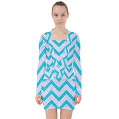 Chevron9 White Marble & Turquoise Colored Pencil (r) V Neck Bodycon Long Sleeve Dress by trendistuff