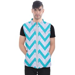 Chevron9 White Marble & Turquoise Colored Pencil (r) Men s Puffer Vest by trendistuff